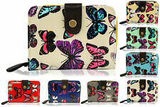 Ladies Womens New Genuine Medium Size Wallet, Purse, Clutch With Butterfly Pat