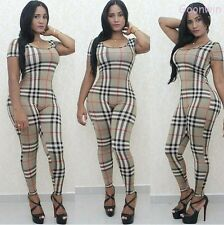 Sexy Women Short Sleeve U Neck Classic Checks Teddy Jumpsuits Rompers Trousers