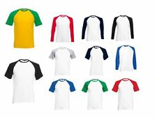 Fruit Of the Loom Long Contrast Sleeve Top Baseball New Style Mens Womens TShirt