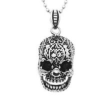 Men Goth Punk Statement Rock Skull Pendant Necklace Stainless Steel Chain