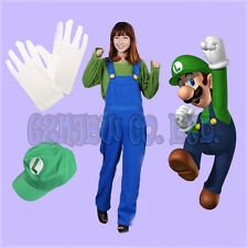 halloween Adult and Kid Super Mario Luigi Cosplay Costume with cap 4pes set suit