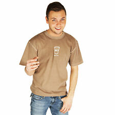 Life is Good Leather Brown Glass Half Full Cup T-Shirt Crusher Mens Optimist Tee