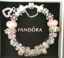AUTHENTIC PANDORA Sterling Silver MOM Charm Bracelet European Lampwork Beads #31