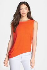 NWT Eileen Fisher Ballet Neck Top Organic Linen Jersey Flamingo Orange $168 S,L