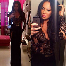 Sexy Women V Neck Black Lace Slit Slim Party Evening Clubwear Maxi Long Dress