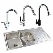 1.5 BOWL STAINLESS KITCHEN SINK CHOICE OF KITCHEN SINK MIXER TAPS DECK MOUNTED
