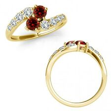 1.5 Carat Red Diamond 2 Two Stone By Pass Cluster Vintage Ring 14K Yellow Gold
