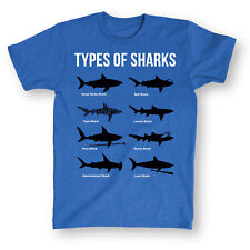 Types of Sharks Funny Blue T-Shirt - Great White Shark Species Shirt