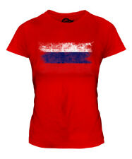 RUSSIA DISTRESSED FLAG LADIES T-SHIRT TOP ROSSIYA RUSSIAN ROSSIA GIFT FOOTBALL