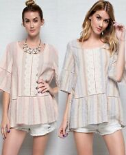 Easel Sheer Lace Front Striped Tunic Top Bell Sleeve Scoop Neck Boho Chic ET2468