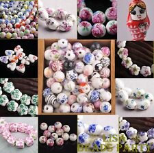 Hot 8pcs 10~22mm Assorted Patterns Shiny Porcelain Ceramic Loose Spacer Beads