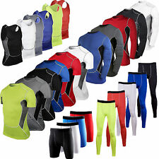 Men's Under T Shirt Compression Armour Base Layer Skins Tops Tights Shorts Pants