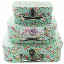 VINTAGE SHABBY CHIC SET OF 3 GREEN FLORAL ROSE SUITCASE STORAGE BOXES HOME DECOR
