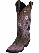 MISS KATE LAREDO PINK & BROWN LEATHER COWGIRL WESTERN BOOTS 52137