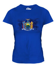NEW YORK STATE DISTRESSED FLAG LADIES T-SHIRT TOP NEW YORKER SHIRT JERSEY GIFT