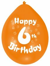 """Happy 6th Birthday 9"""" Party Latex Balloons Mixed Colours CHOOSE QUANTITY"""
