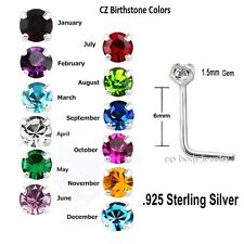 2pc 1.5mm Prong Set CZ Birthstone Colors .925 Sterling Silver L-Shaped Nose Stud