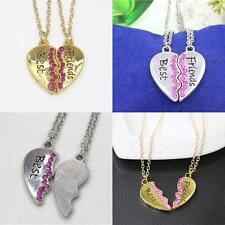 2 In 1 Heart Pendant Chain Chocker Best Friends Rhinestone Necklace Fashion Gift