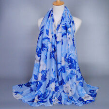 Fashion Women Long Flower Print Voile Scarf Wrap Ladies Shawl Large Scarves