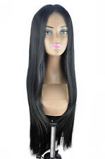 "14-26"" Front Lace Wigs Silky Straight Synthetic Wigs Full Wigs Natural Black 1B-"