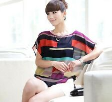 Blouses Sleeve Bat T-shirt Tops Casual Short Sleeve Summer ColorfulStriped