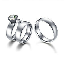 Stainless Steel Silver Couples Rings Wedding Bands His and Her Promise Ring