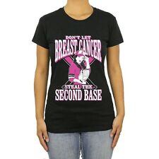 Ladies T Shirt Second Base S Breast Cancer Tee Awareness Women's Top Pink Fight