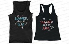 His and Hers Matching Couple Beach Tank Tops - Summer Kind of Guy and Girl