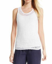 NWT Eileen Fisher Scoopneck Mesh Tank White Spongy Cotton Tape Mesh $158 – XS