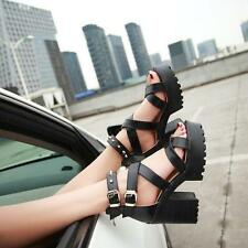 Womens Roman Chunky Heels Punk Rivets Sandals Platform Cross-Strap Gothic Shoes