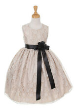 New Flower Girl Dress Lace Champagne Easter Christmas Pageant Wedding Occasional