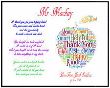 Thank You Teacher Gift Personalised Childminder Assistant School Leaving Present