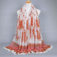 NEW Women's Fashion Long Scarves Soft Voile Wrap Shawl Floral Scarf Neck Stole