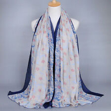 Fashion Lady Womens Floral Scarf Shade Stole Shawl Wrap Soft Big Voile Scarves