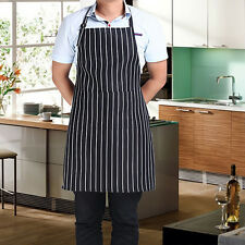 Adjustable Adult Black Stripe Grid Bib Apron with Pocket Waterproof Chef Waiter