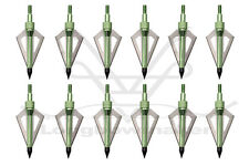 Archery Hunting Broadheads 100grain Green 3 Blades Arrowtips Fit Compound Bow