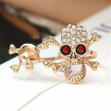 Typical Gothic/Punk Gold/Silver Crystal Skull Two Finger Double Ring b65