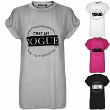 Womens Ladies Cesten Vogue Print Stretchy Baggy Oversized T Shirt Top Plus Size