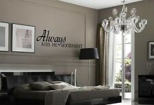 ALWAYS KISS ME GOODNIGHT Romantic Wall Lettering Words Decal Sticker Quote