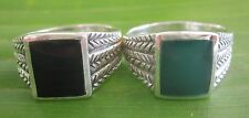 100% 925 sterling silver RECTANGLE Green- Black ONYX arrow SOLID MEN Ring