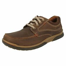 MENS CLARKS LEATHER ROUND TOE CASUAL LACE UP SHOES RANDLE WALK G FIT