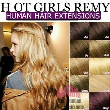 UK Silky 8 Piece Clip In Remy Human Hair Extensions Full Head thick weft QU101✿