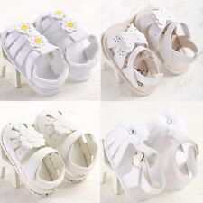 Stylish Toddler Baby Sandals Shoes Princess Girls White Flowers Size 0-18 Months