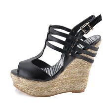 Qupid Finder 205 Black Women's Strappy Platform Open Toe Wedges