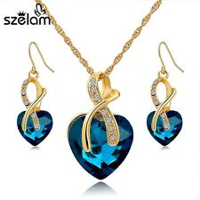 Gift! Gold Plated Jewelry Sets For Women Crystal Heart Necklace Earrings Jewelle