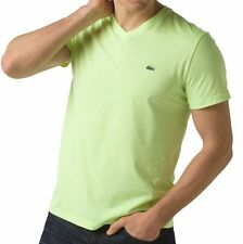 LACOSTE MEN'S SHORT SLEEVE PIMA COTTON JERSEY V-NECK T-SHIRT IN MARZIPAN COLOR