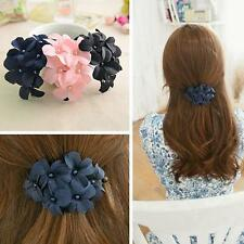 Chic Sweet Fabic Flower Hair Clip Claw Headpin Clamp Barrettes3 Assorted Color