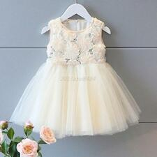 2-6Y Baby Kids Girls Princess Party Tutu Tulle Rose Flower Dress Costume Pageant