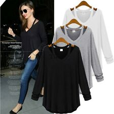 Hot sell Stylish Women Long Sleeve Top V-Neck Loose Blouse Casual T-Shirt TXWD