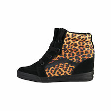 Vans Womens/Ladies High Top Lace Up Fashion Trainers With Leopard Print Design